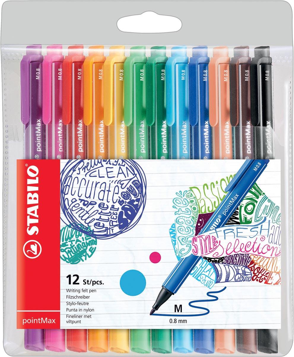 STABILO pointMax schrijfstift, 0,8 mm, etui van 12 stuks in geassorteerde kleuren