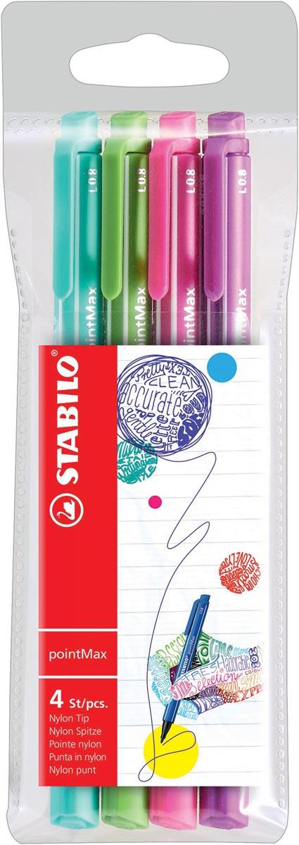 STABILO pointMax schrijfstift, 0,8 mm, etui van 4 stuks in geassorteerd fun kleuren