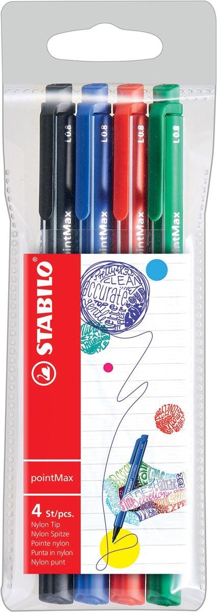 STABILO pointMax schrijfstift, 0,8 mm, etui van 4 stuks in geassorteerde standaard kleuren
