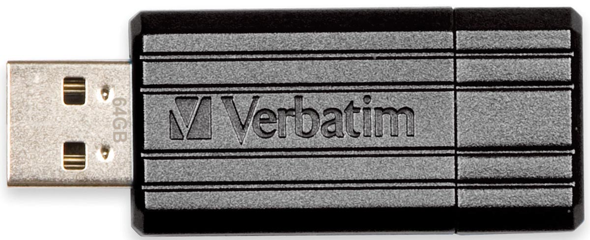 Verbatim PinStripe USB 2.0 stick, 64 GB, zwart