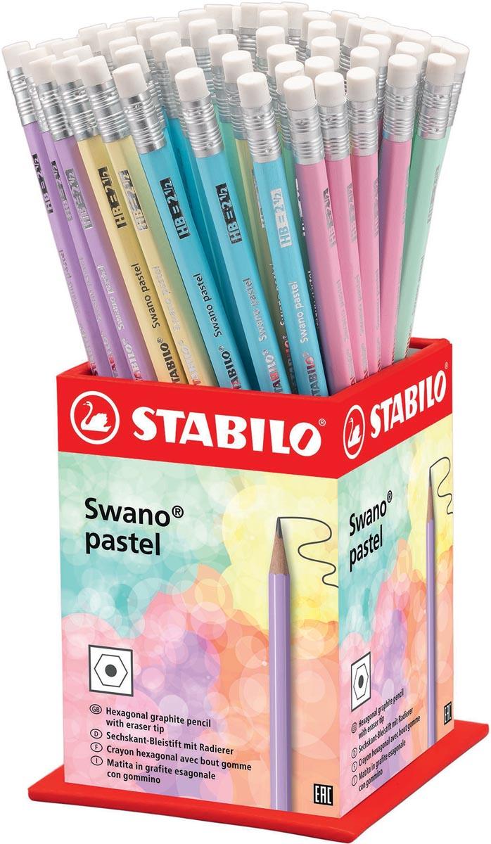 STABILO Swano pastel potlood, HB, met gom, display van 72 stuks in geassorteerde kleuren