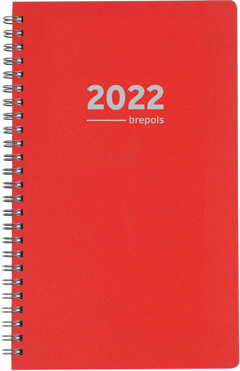 Brepols agenda Building Polyprop 6-talig, rood, 2022