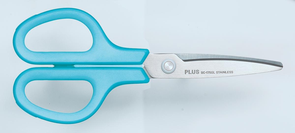 Plus FitCut Curve SMART schaar voor linkshandigen, 17,5 cm, blauw, op blister