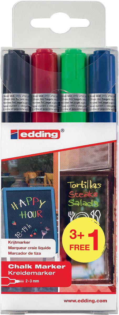Edding krijtmarker 4095, geassorteerde kleuren, etui van 4 stuks (3 + 1 gratis)