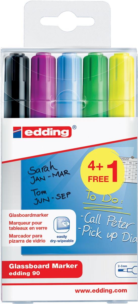 Edding glasbordmarker 90, ophangetui met 5 stuks in geassorteerde kleuren (4 + 1 gratis)
