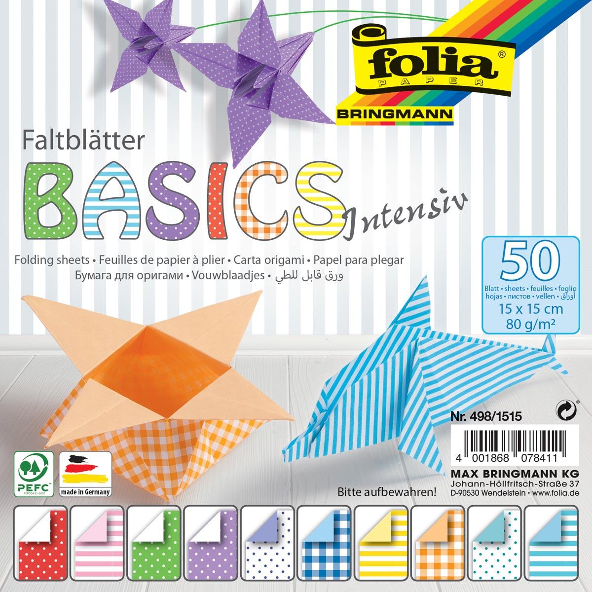 Folia vouwpapier Basic Intensive ft 15 x 15 cm, pak met 50 vel