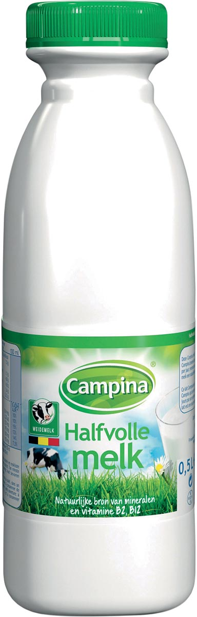 Campina halfvolle melk, 0,5 liter, pak van 6 flessen