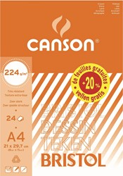 Canson tekenblok Bristol ft A4, blok van 20 blad + 4 blad gratis