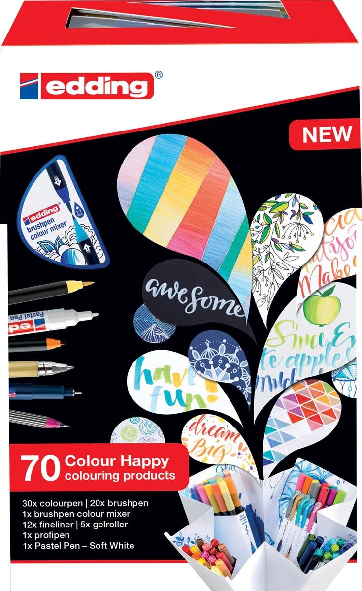 edding Colour Happy box, assortiment met 70 stuks in geassorteerde kleuren
