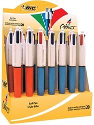 Bic balpen 4 Colours medium en fijn, doos met 20 stuks
