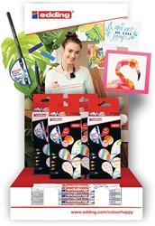 edding brushpen Colour Happy toonbankdisplay met 4 dozen van 20 stuks in geassorteerde kleuren
