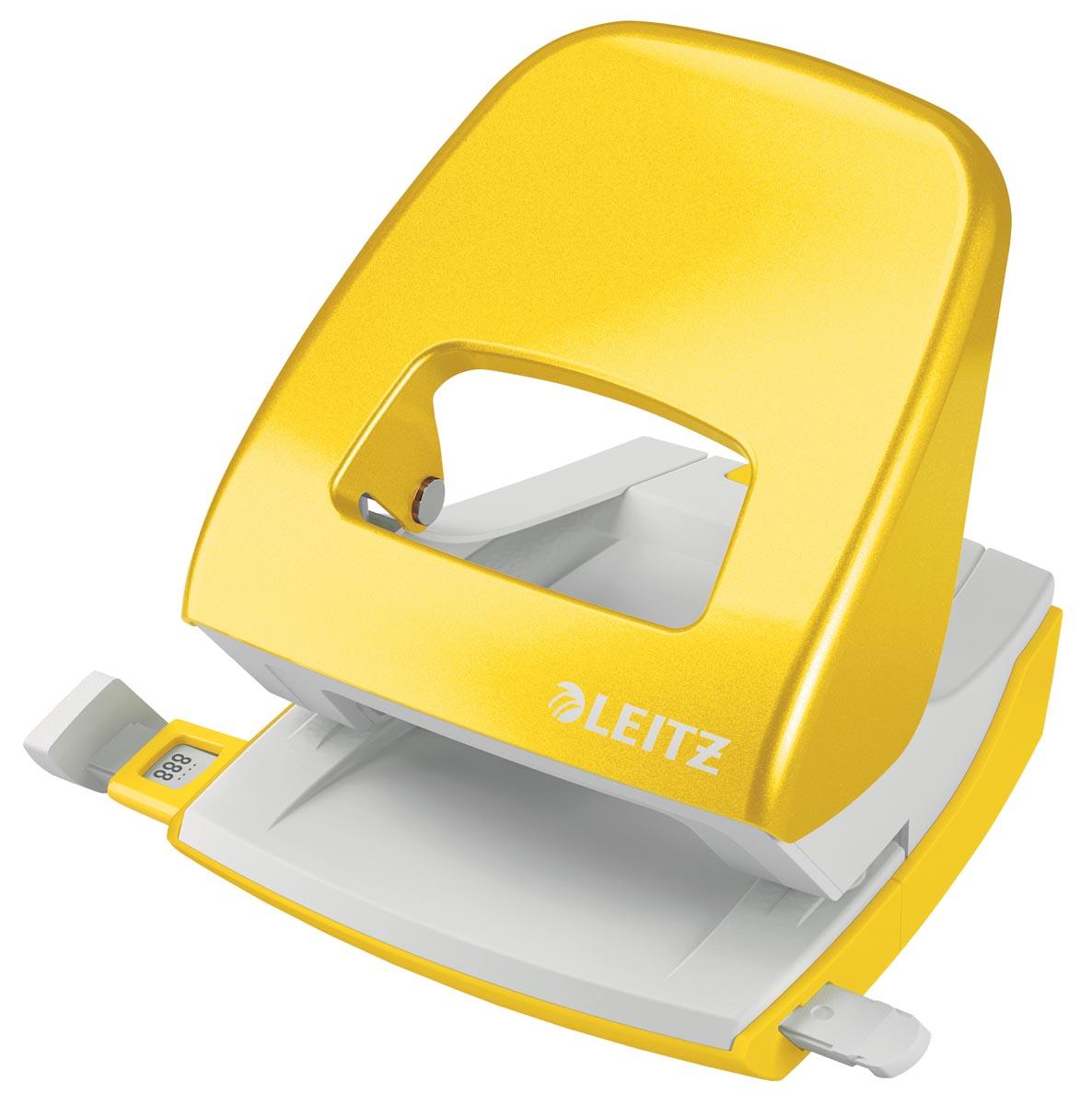 Leitz WOW perforator, 30 blad, geel, op blister