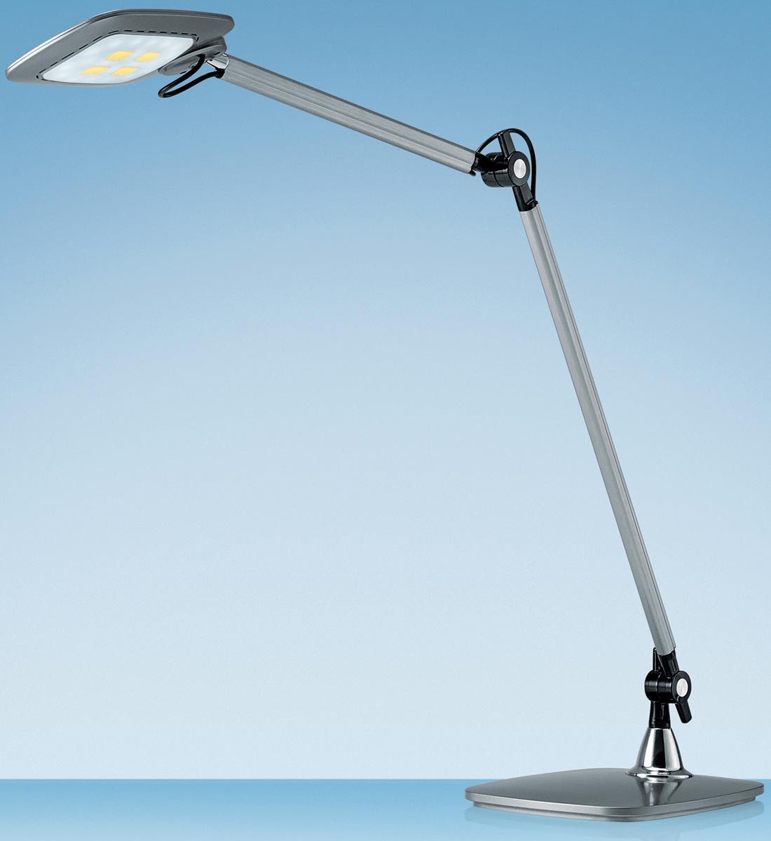 Hansa bureaulamp E-Motion, LED-lamp, zilver