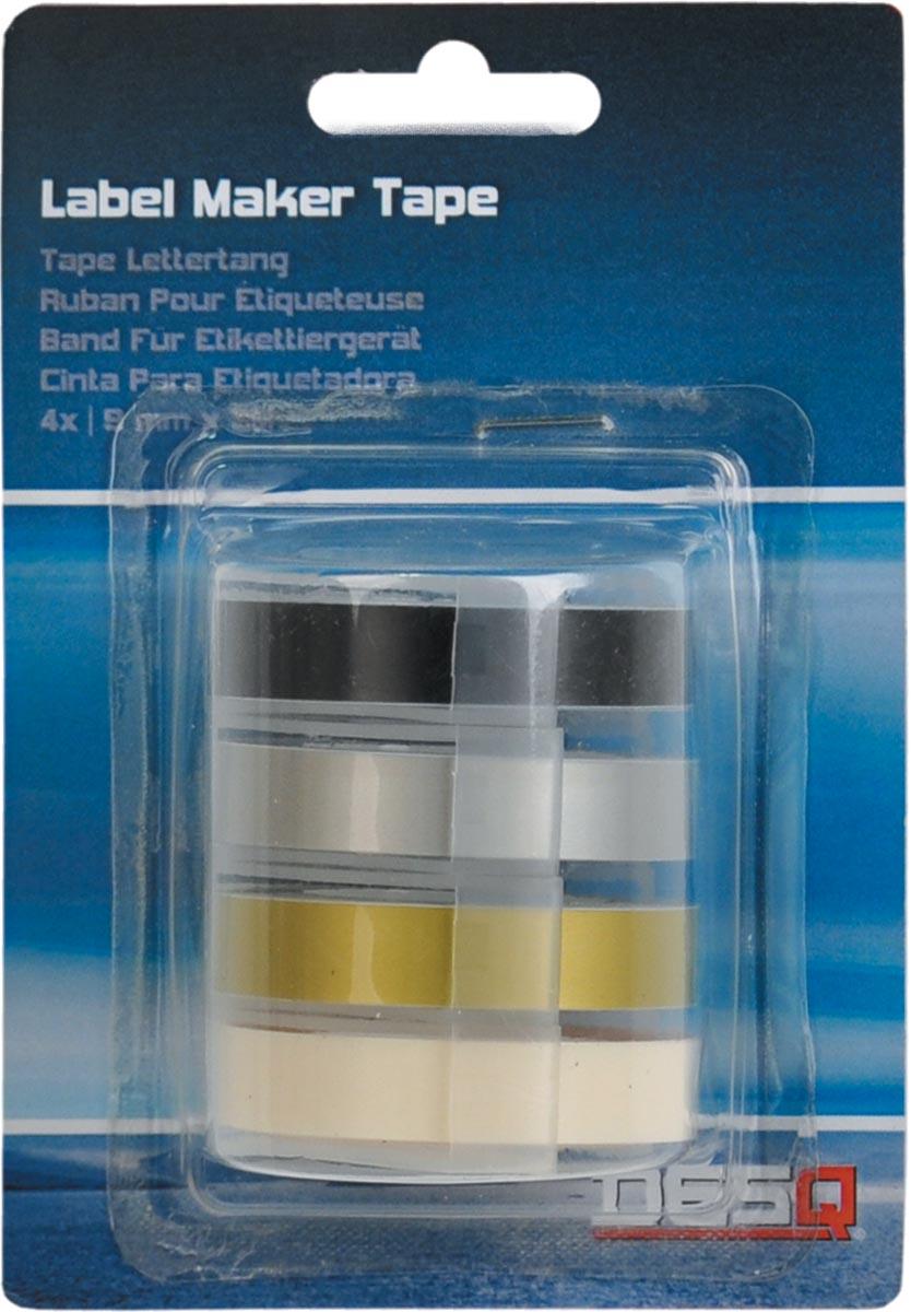 Desq tape voor lettertang 9 mm, traditioneel, blister van 4 kleuren