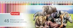 Bruynzeel kleurpotloden 'Wilde dieren', doos met 45 potloden in geassorteerde kleuren