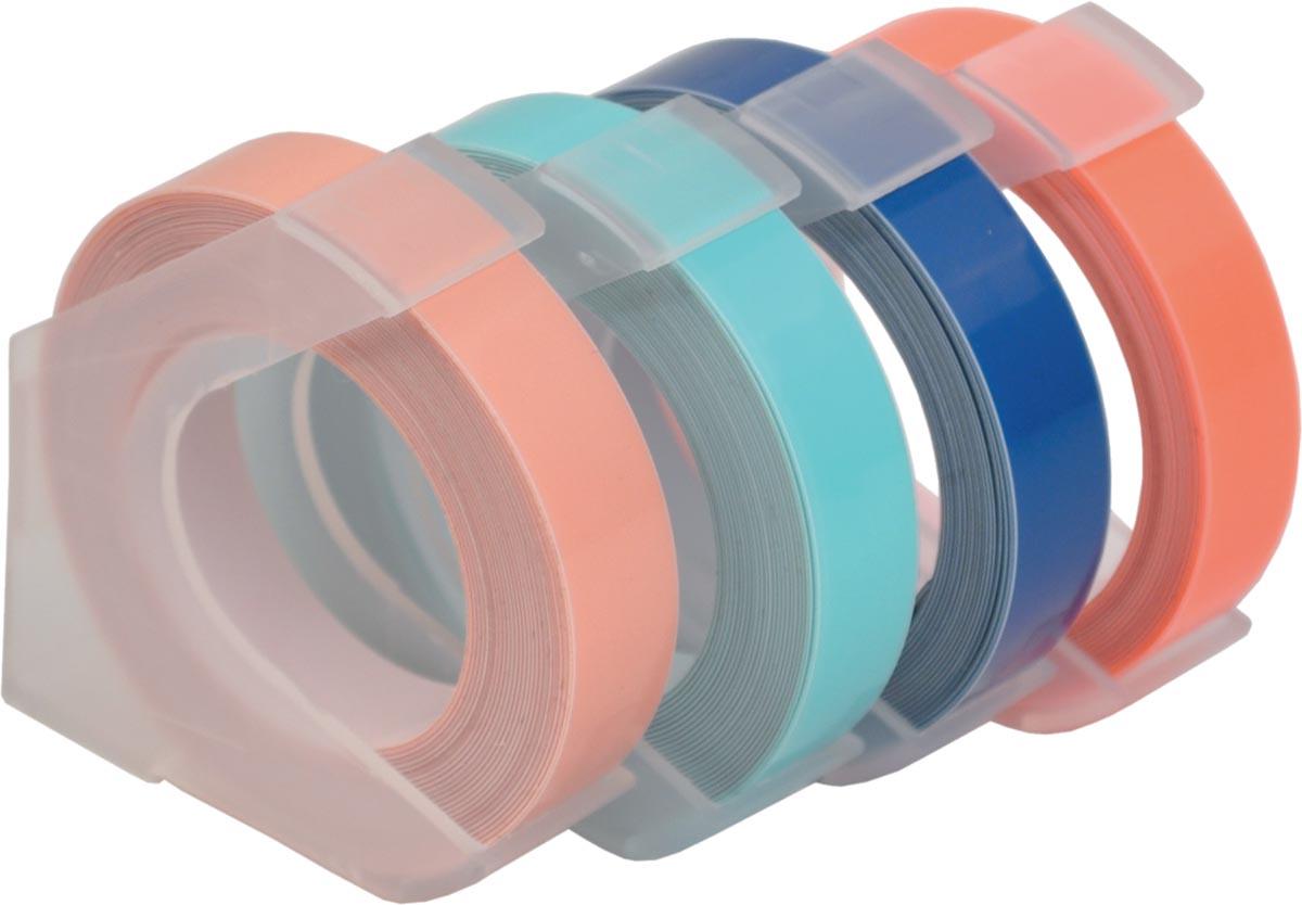 Desq tape voor lettertang 9 mm, trendy, blister van 4 kleuren