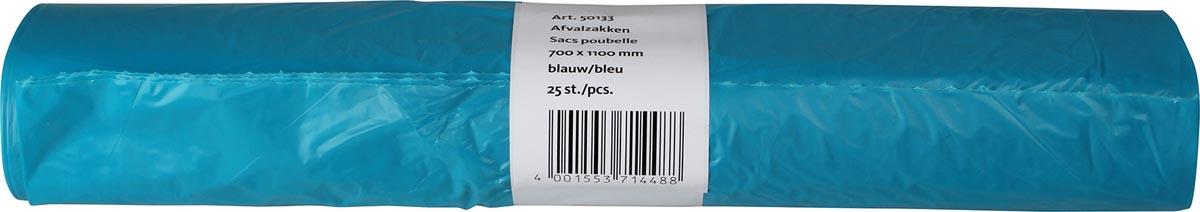 Vuilniszak 20 micron, ft 700 x 1100 x 0,020mm HDPE recycled, blauw, rol van 25 stuks