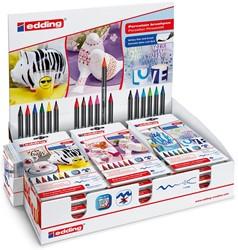 Edding penseelstift porselein e4200, display van 18 sets van 6 stuks, geassorteerde kleuren