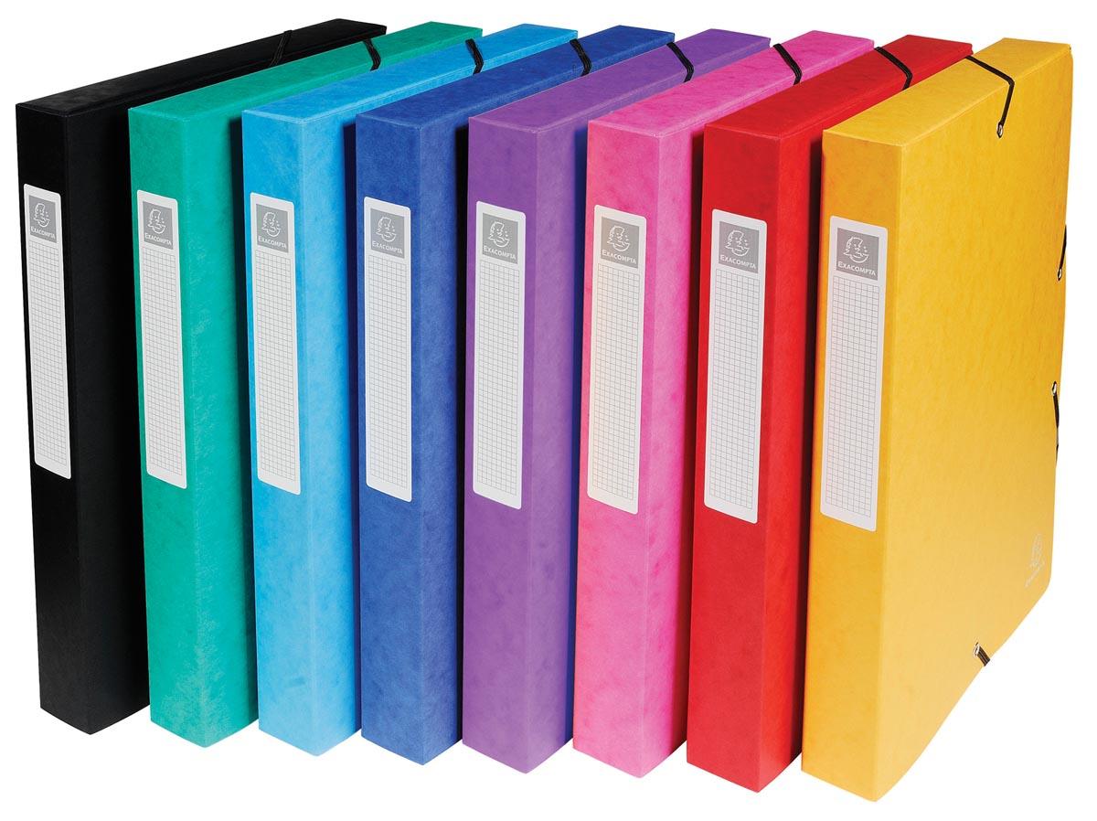 Exacompta elastobox Exabox 8 geassorteerde kleuren: geel, rood, roze, paars, blauw, turquoise, groen