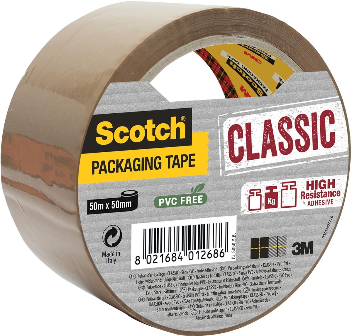Scotch verpakkingsplakband Classic, ft 50 mm x 50 m, PP, bruin, individueel verpakt