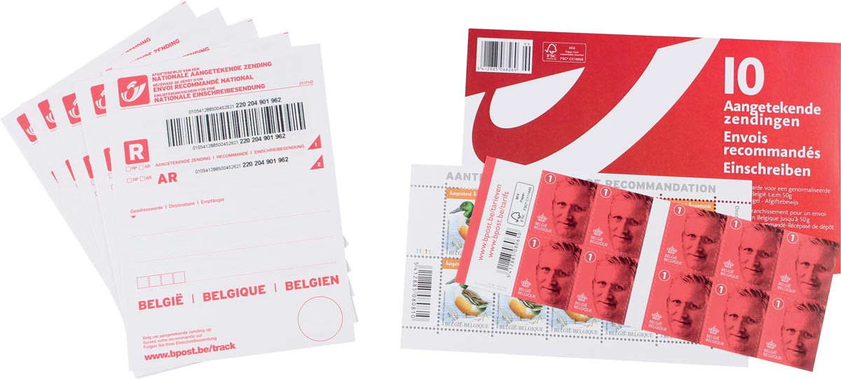 Bpost kit aangetekende zending, pak van 10 zendingen