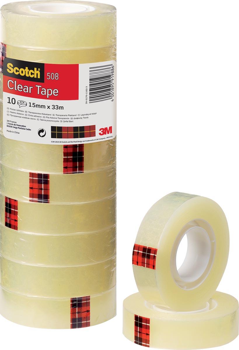 Scotch plakband 508 ft 15 mm x 33 m, pak van 10 rollen