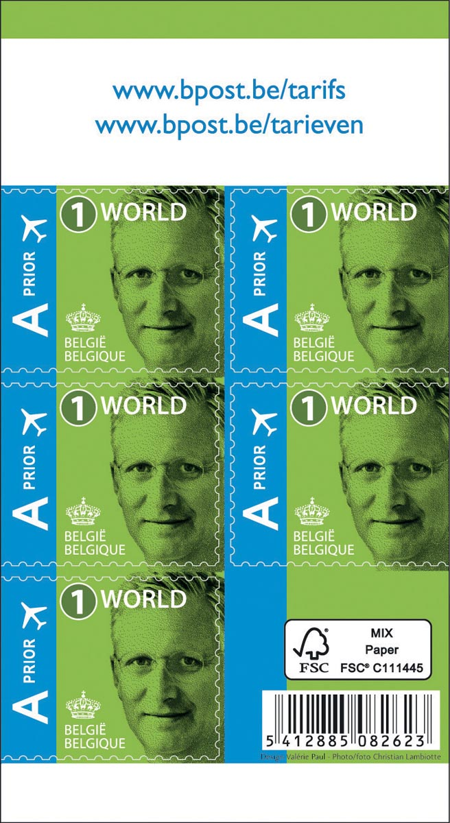 BPost postzegel internationaal, Koning Filip, blister van 50 stuks, prior