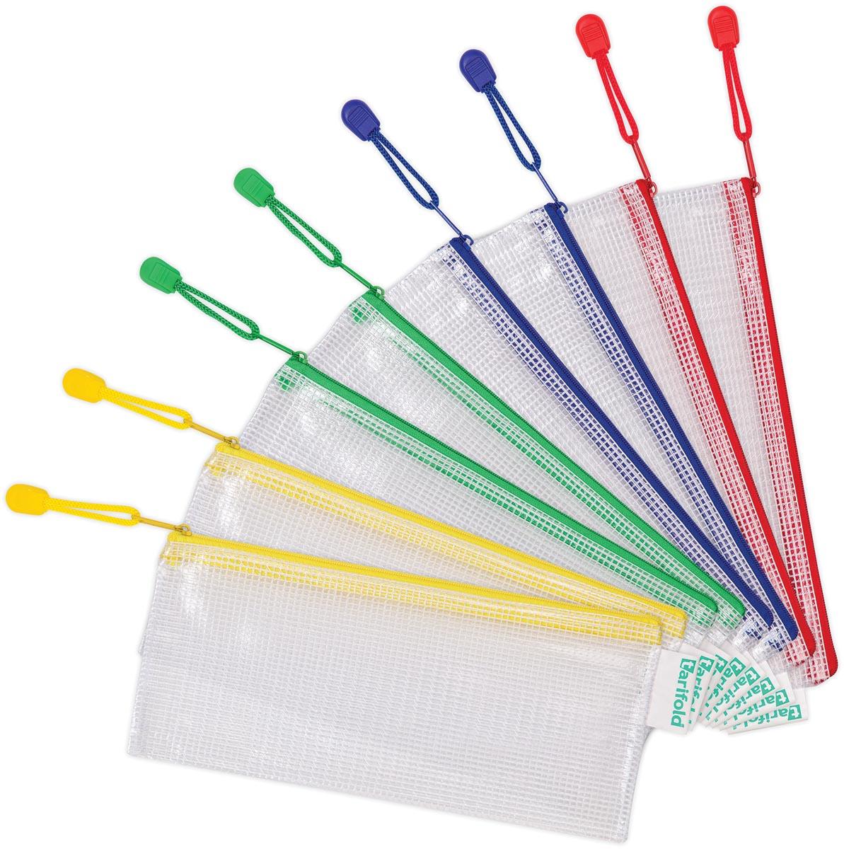 Tarifold opbergtas met rits, ft cheque, pak van 8 stuks in geassorteerde kleuren