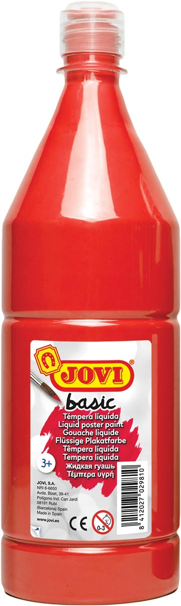 Jovi plakkaatverf, fles van 1000 ml, vermiljoen