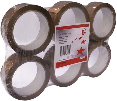 5 Star verpakkingsplakband ft 38 mm x 66 m, bruin, pak van 6 stuks