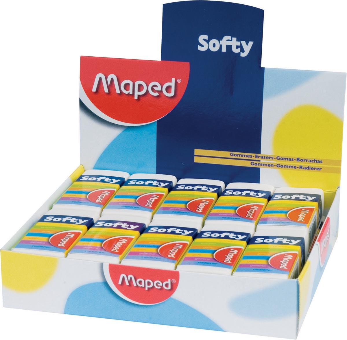 Maped potloodgom Softy medium formaat, doos van 20 stuks