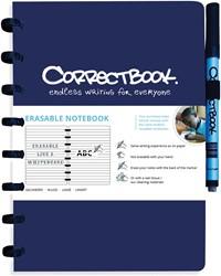 Correctbook A5 gelijnd herbruikbaar schrift, navy blauw