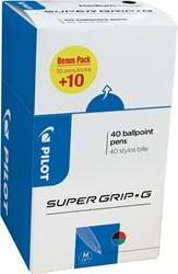 Pilot balpen Super Grip G medium met dop, value pack met 30 + 10 stuks in 4 geassorteerde kleuren