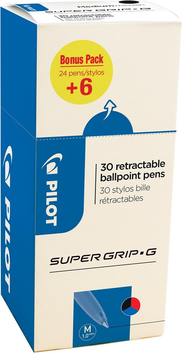 Pilot balpen Super Grip G medium retractable, value pack met 24 + 6 stuks in 3 geassorteerde kleuren