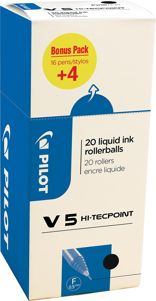 Pilot roller Hi-Tecpoint V5 0,3 mm, zwart, value pack met 16 + 4 stuks