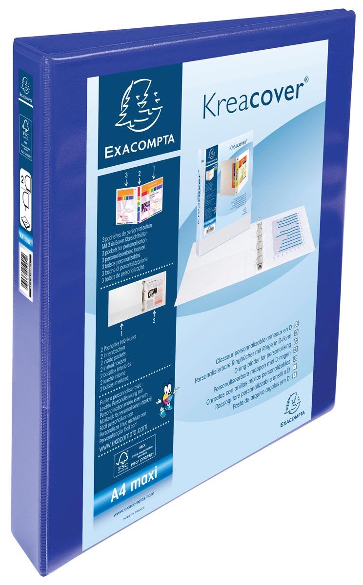 Exacompta Kreacover personaliseerbare ringmap blauw 2 ringen van 25 mm