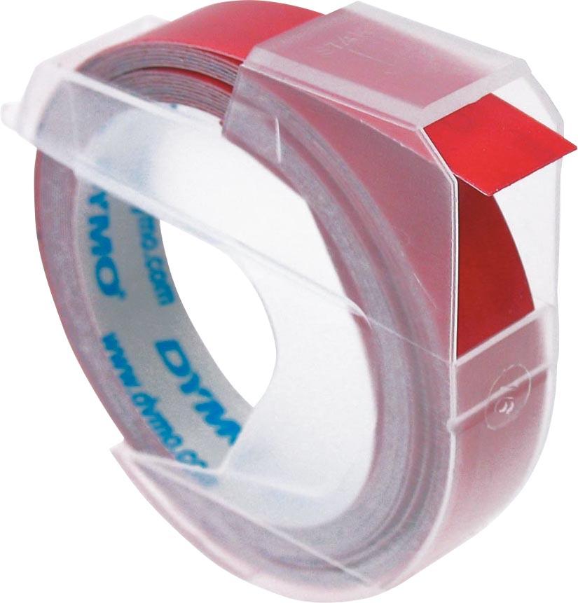 Dymo tape 9 mm voor lettertang Omega, rood