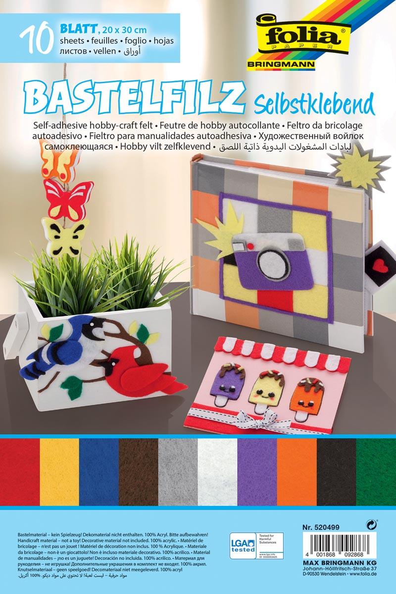 Folia zelfklevend vilt ft 20 x 30 cm, pak met 10 vel in geassorteerde kleuren