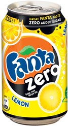 Fanta Zero Lemon frisdrank, blik van 33 cl, pak van 24 stuks