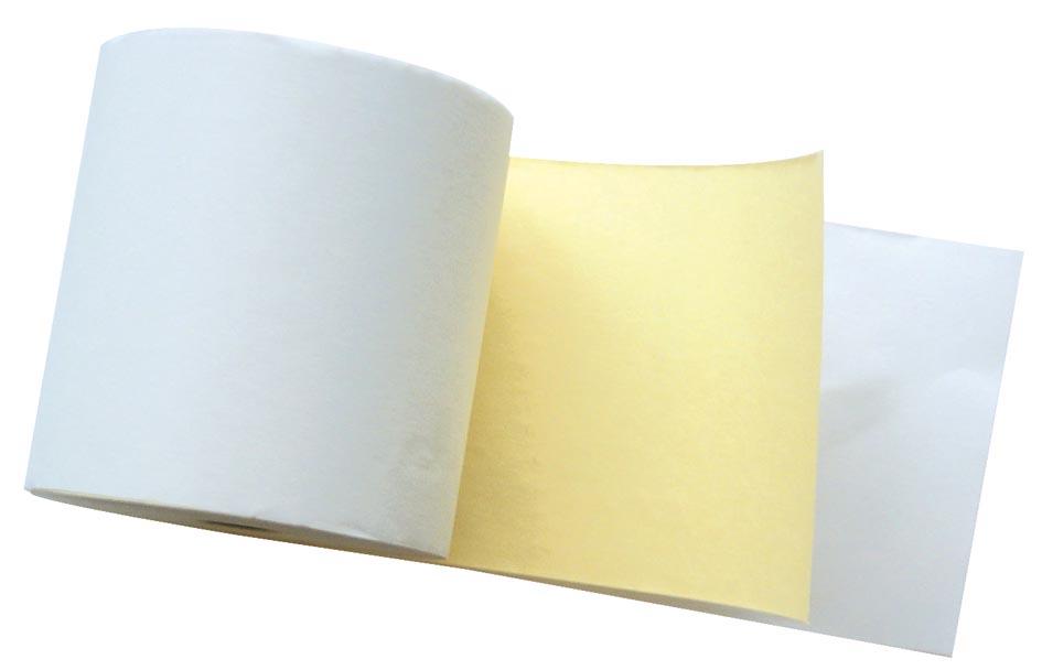 Duplorol 2 lagen ft 57 mm, diameter +-65 mm, asgat 12 mm, lengte 25 meter, kleur wit-geel
