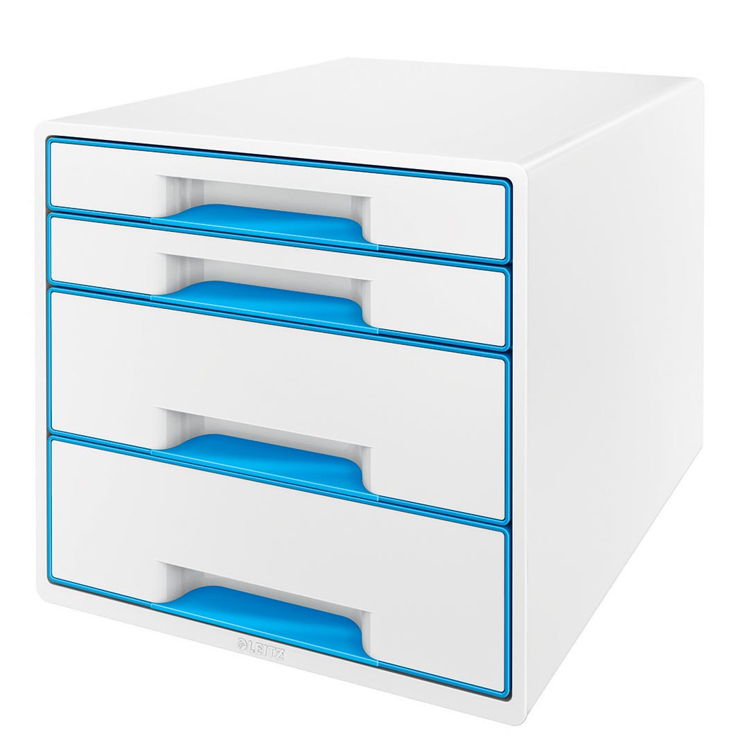 Leitz ladenblok WOW, 4 laden, wit/blauw