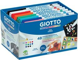 Giotto Decor Materials viltstiften, schoolpack met 48 stuks in geassorteerde kleuren