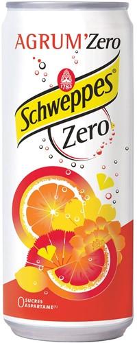 Schweppes Agrum Zero frisdrank, blik van 33 cl, pak van 24 stuks