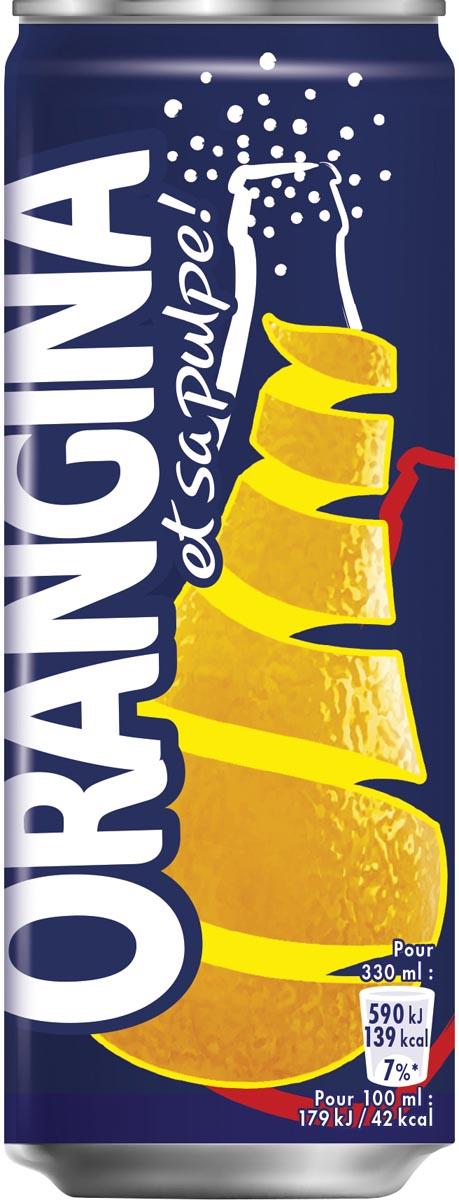Orangina frisdrank, blikje van 33 cl, pak van 24 stuks
