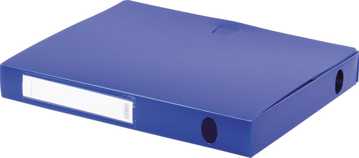 Pergamy elastobox, voor ft A4, uit PP van 700 micron, rug van 4 cm, blauw