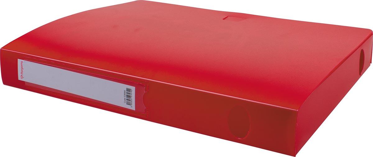 Pergamy elastobox, voor ft A4, uit PP van 700 micron, rug van 4 cm, rood
