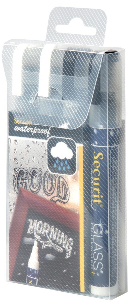 Securit Waterproof krijtmarker medium zwart/wit, blister met 4 stuks