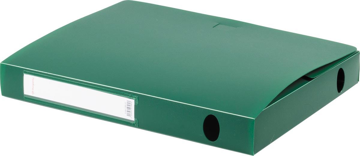 Pergamy elastobox, voor ft A4, uit PP van 700 micron, rug van 4 cm, groen