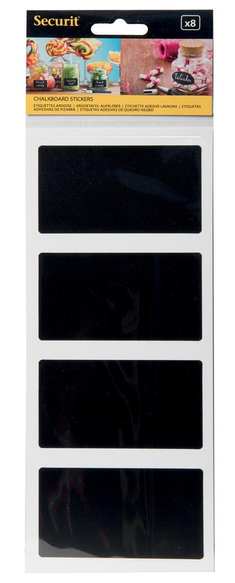 Krijtbordstickers rechthoek set van 8