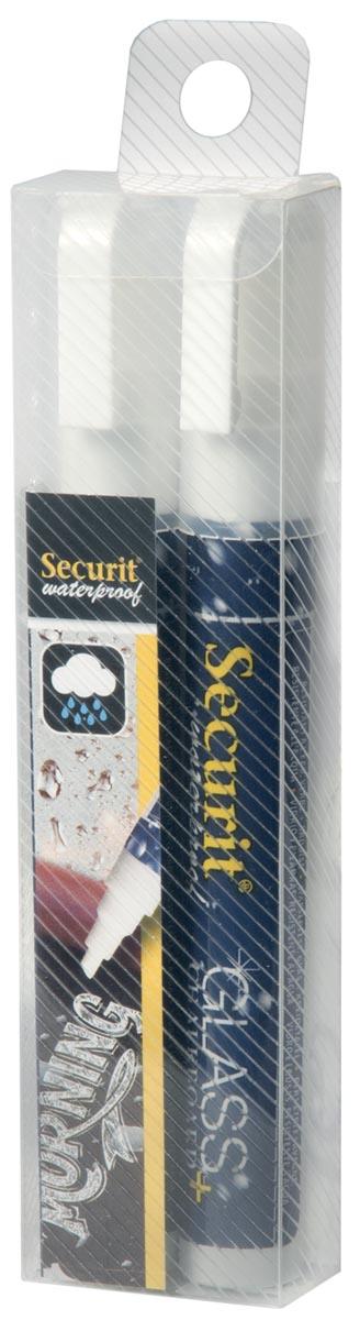 Securit Waterproof krijtmarker medium wit, blister met 2 stuks